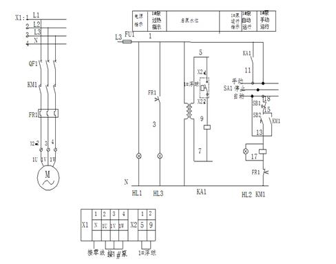 (2)1用1备排污泵控制箱接线图及1控1排污泵控制箱
